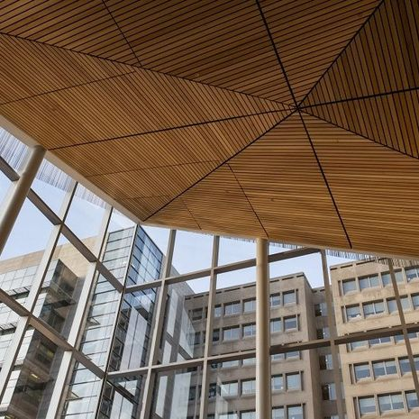 Inside the new atrium in Anderson Hall.